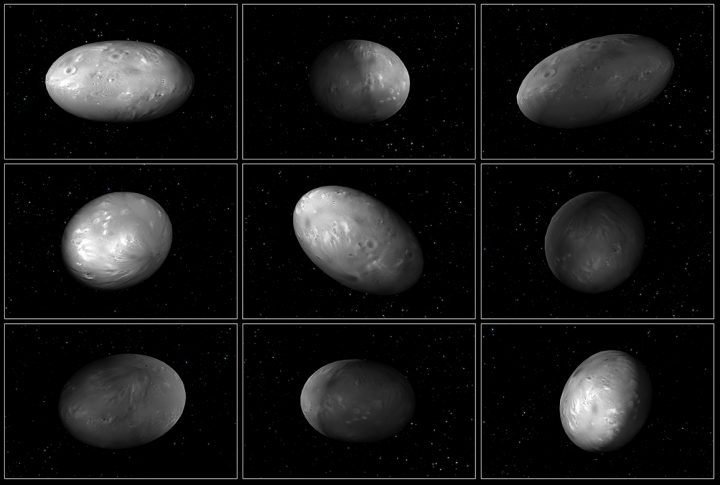 "This set of computer modeling illustrations of Pluto's moon Nix shows how the orientation of the moon changes unpredictably as it orbits the ""double planet"" Pluto-Charon. Credits: NASA/ESA/M. Showalter (SETI)/G. Bacon (STScI)"