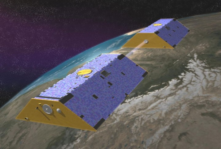 Gravity Recovery and Climate Experiment (GRACE) satellites. Credits: NASA