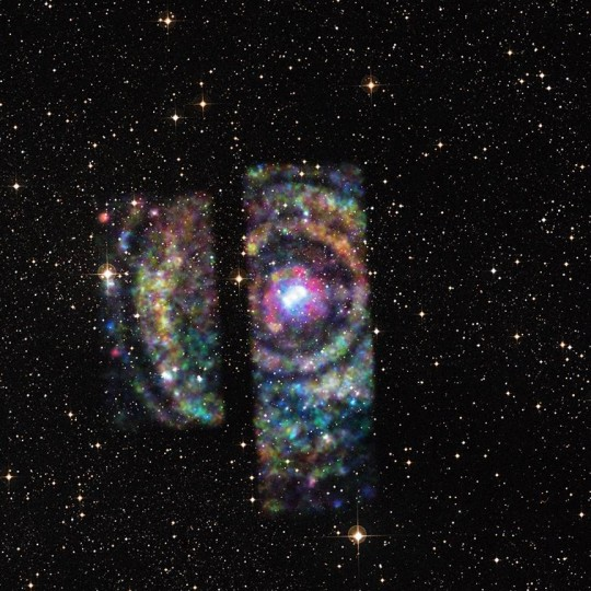 A light echo in X-rays detected by NASA's Chandra X-ray Observatory has provided a rare opportunity to precisely measure the distance to an object on the other side of the Milky Way galaxy. The rings exceed the field-of-view of Chandra's detectors, resulting in a partial image of X-ray data. Credits: NASA/CXC/U. Wisconsin/S. Heinz