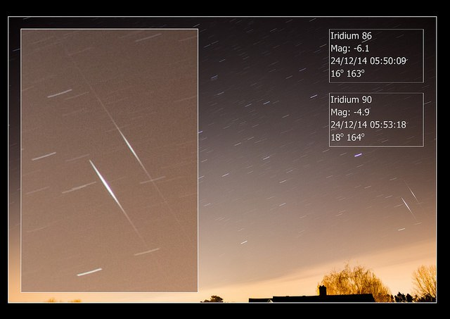 A 'double Iridium flare' capture! Image credit: Mary Spicer