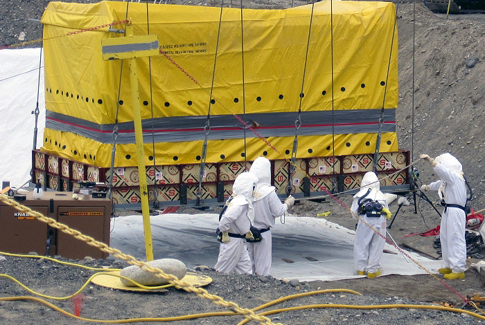 Workers on a cleanup site at DOE's Hanford Site in southeastern Washington State, one of several sites sampled for uranium and plutonium variations. Photo courtesy U.S. Department of Energy.