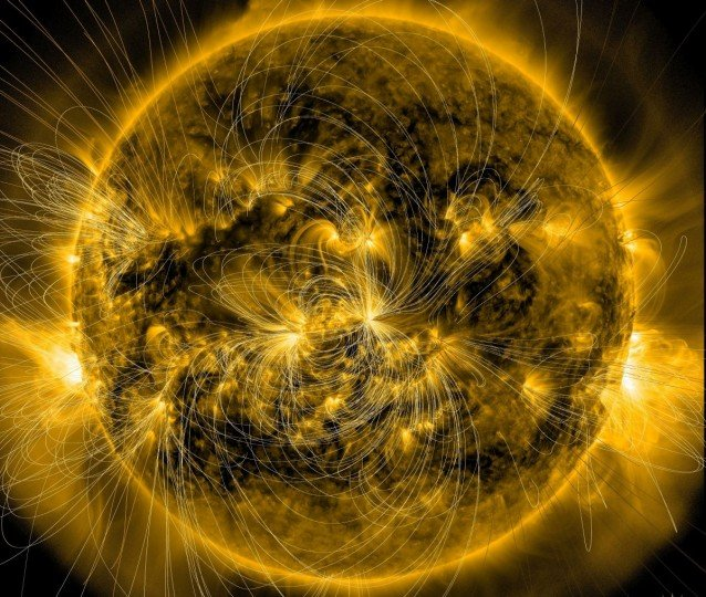 This image of the sun from January 7, 2014, combines a picture of the sun captured by NASA's Solar Dynamics Observatory, or SDO, with a model of the magnetic field lines using data that is also from SDO. A new model based on such data may one day help space weather forecasters better predict how eruptions from the sun will behave at Earth. Credits: NASA/SDO/LMSAL