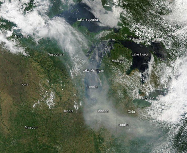 This natural-color satellite image was collected by the Moderate Resolution Imaging Spectroradiometer (MODIS) aboard the Terra satellite on June 09, 2015.  NASA image courtesy Jeff Schmaltz, MODIS Rapid Response Team.