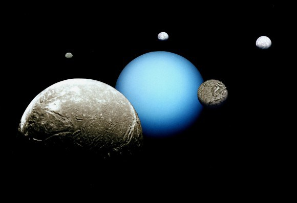 Uranus and its five major moons: (left to right) Miranda, Ariel, Titania and Umbriel and Oberon in the foreground. Credit: space.com