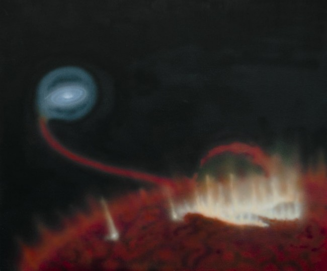 This is an artist's impression of a giant flare on the surface of red giant Mira A. Behind the star, material is falling onto the star's tiny companion Mira B. Image credit: Katja Lindblom, CC BY-NC-ND 4.0