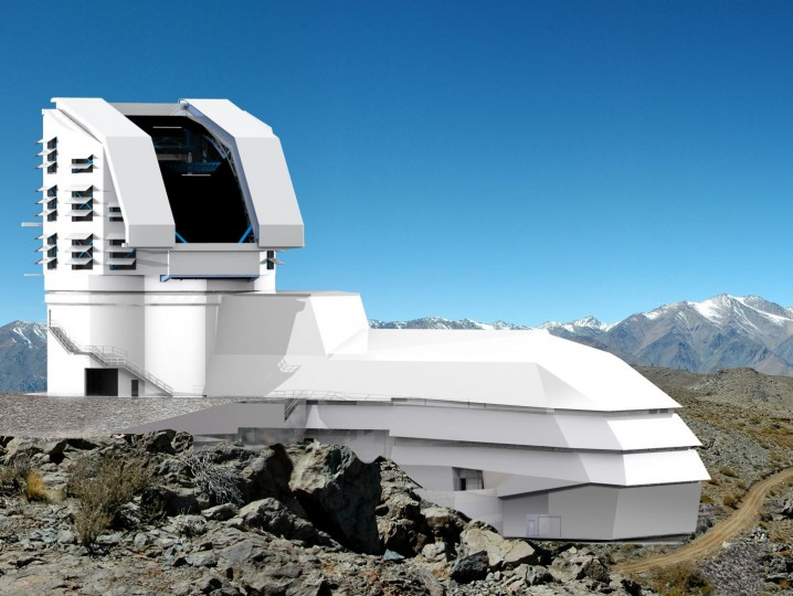 This is an artist's rendering of the proposed architecture for the Large Synoptic Survey Telescope at its site on the El Penon peak of Cerro Pachon in Chile. Image credit: LSST