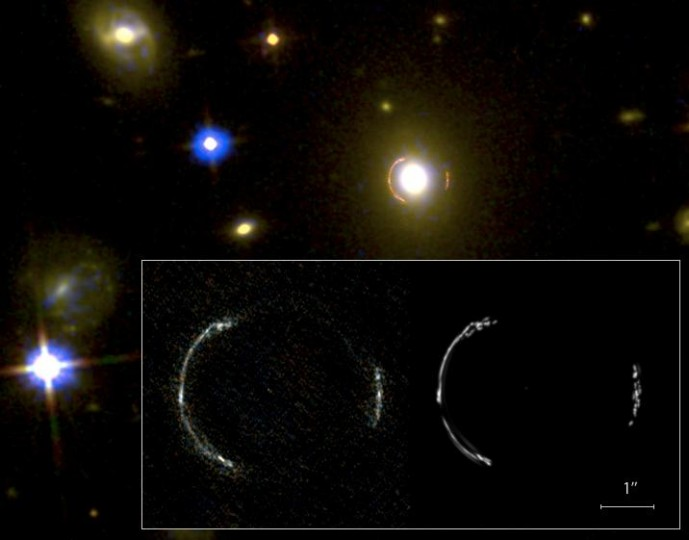 An ALMA image of SDP.81 (orange arches around the bright object) was overlaid on a near-infrared image taken by the NASA/ESA Hubble Space Telescope. The inset shows a close up of the ALMA image (left) and the simulation produced by the model (right). The reader can see that the model accurately reproduces the observed Einstein ring. Credit: Y. Tamura (The University of Tokyo)/ALMA (ESO/NAOJ/NRAO) National Astronomical Observatory of Japan