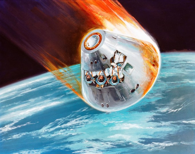 As spacecraft, like the Apollo Command Module depicted in this artist's concept, enter the atmosphere, a plasma sheath engulfs them that can cut off communication signals with the ground. Image credit: NASA