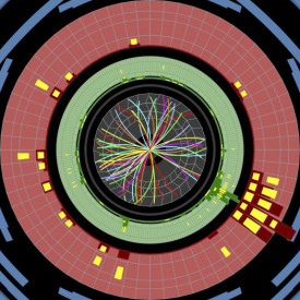 Protons collide at 13 TeV, sending showers of particles through the ATLAS detector during tests on May 20.