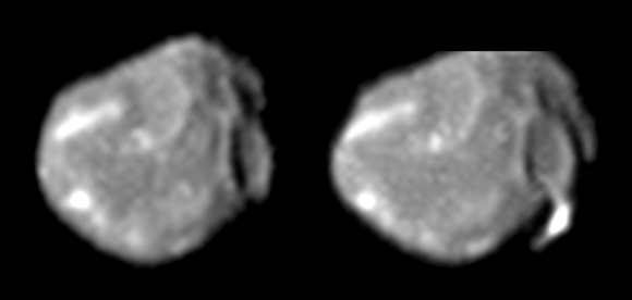 Amalthea, as photographed by the Galileo spacecraft. The left is from August 12, 1999 at a range of 446,000 km, the right from November 26, 1999 at a range of 374,000. Credit: NASA/JPL