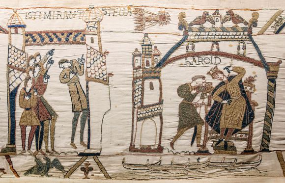 The Bayeux Tapestry, showing the appearance of Halley's Comet in the sky in 1066. Credit: Wikipedia Commons/Myrabella