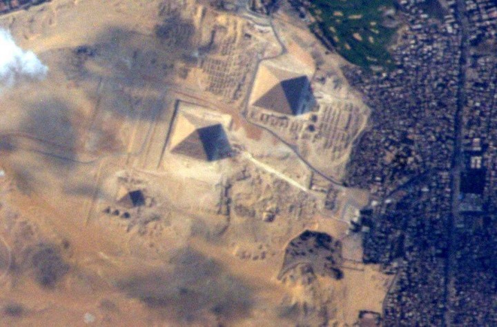 "The Great Egyptian Pyramids of Giza from space and the International Space Station on 10 June 2015. ""It took me until my last day in space to get a good picture of these! Credit: NASA/Terry Virts/@AstroTerry"