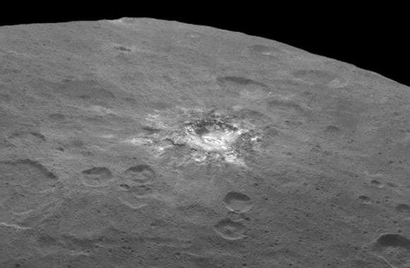 Fresh material is exposed in a rayed crater on Ceres. Taken on June 6 from 2,700 miles (4,400 km), it has a resolution of 1,400 feet (410 meters) per pixel, Credit: NASA/JPL-Caltech/UCLA/MPS/DLR/IDA