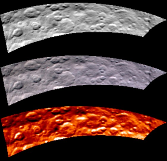 Images from Dawn's visible and infrared mapping spectrometer (VIR) show a portion of Ceres' cratered northern hemisphere, taken on May 16, 2015 from 4,500 miles (7,300 km) away. From top to bottom, the views include a black-and-white image, a true-color view and a temperature image. In the bottom infrared view, the lightest areas are hottest and darkest are the coolest. Credit: NASA/JPL-Caltech/UCLA/ASI/INAF