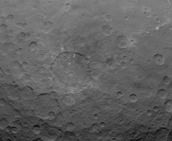 Bright dots and patches of material are seen in this photo taken by Dawn on May 22, 2015 from 3,200 miles (5,100 km) away. Credit: NASA/JPL-Caltech/UCLA/MPS/DLR/IDA