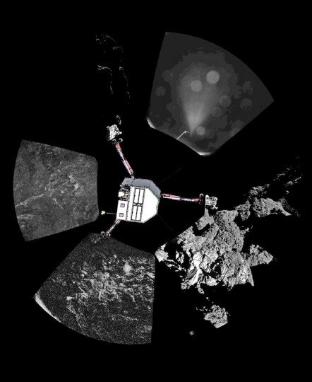 Rosetta's lander Philae has returned the first panoramic image from the surface of a comet. The view as it has been captured by the CIVA-P imaging system, shows a 360º view around the point of final touchdown. The three feet of Philae's landing gear can be seen in some of the frames. Superimposed on top of the image is a sketch of the Philae lander in the configuration the lander team currently believe it is in. The view has been processed to show further details. Credit: ESA/Rosetta/Philae/CIVA. Post processing: Ken Kremer/Marco Di Lorenzo