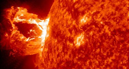 A coronal mass ejection hurling plasma from the sun. Photo credit: NASA