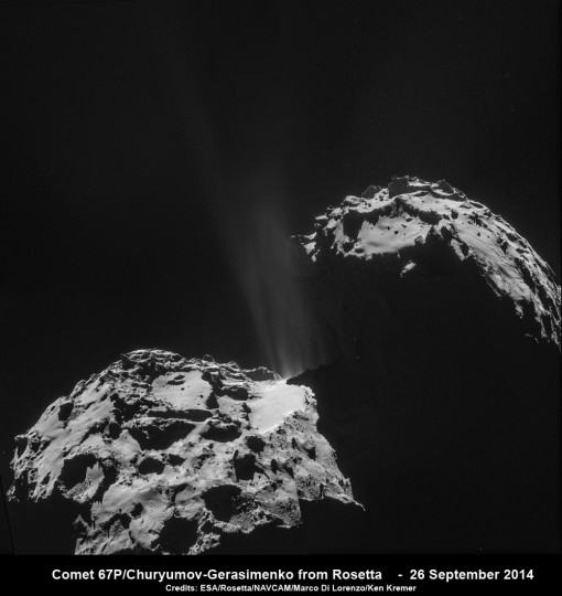 Jets of gas and dust are blasting from the active neck of comet 67P/Churyumov-Gerasimenko in this photo mosaic assembled from four images taken on 26 September 2014 by the European Space Agency's Rosetta spacecraft at a distance of 26.3 kilometers (16 miles) from the center of the comet. Credit: ESA/Rosetta/NAVCAM/Marco Di Lorenzo/Ken Kremer
