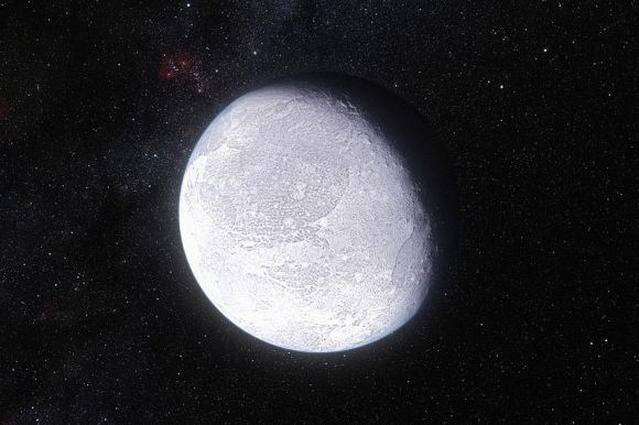 Artist's impression shows the distant dwarf planet Eris, highlighting its bright surface. Credit: ESO