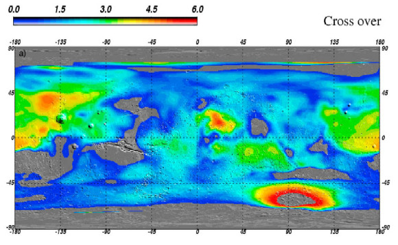 New estimates of water ice on Mars suggest there may be large reservoirs of underground ice at non-polar latitudes. Credit: Feldman et al., 2011
