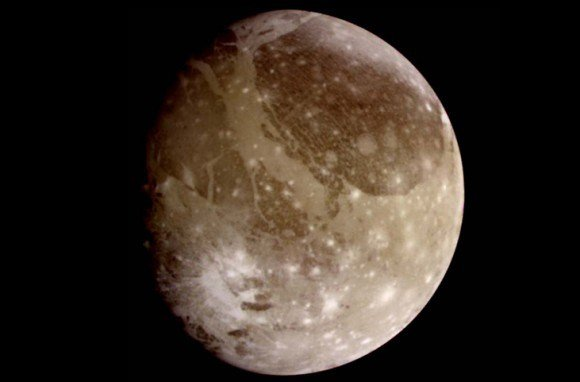 This natural color view of Ganymede was taken from the Galileo spacecraft during its first encounter with the Jovian moon. Credit: NASA/JPL