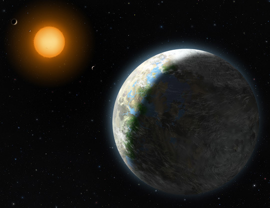 Artists impression of Gliese 581g. Credit: Lynette Cook/NSF