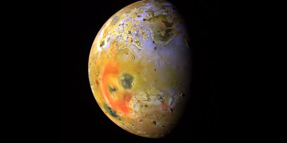 This global view of Jupiter's moon, Io, was obtained during the tenth orbit of Jupiter by NASA's Galileo spacecraft. Credit: NASA