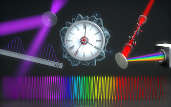 Precision rulers of light (laser frequency combs) span millions of frequencies of light, and can operate from the mid-infrared through the visible to the extreme ultraviolet. They are at the heart of new technologies such as optical atomic clocks, molecular fingerprinting and a noninvasive breath analyzer. Image credit: The Ye group and Steve Burrows, JILA