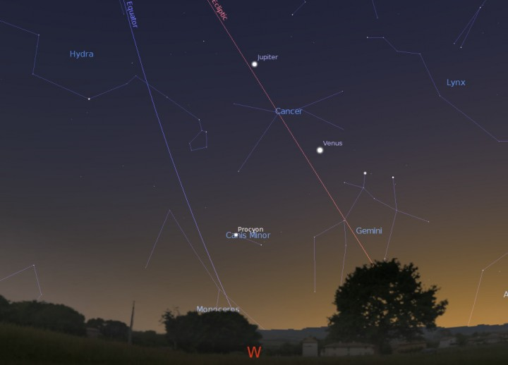 Looking west on the evening of June 5th from latitude 30 degrees north… Image credit: Stellarium