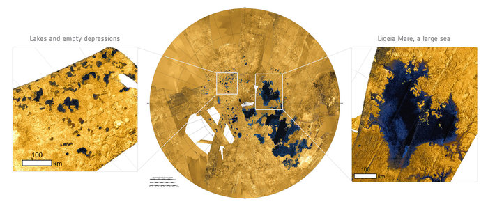A radar image of Titan's north polar regions (centre), with close ups of numerous lakes (left) and a large sea (right). The sea, Ligeia Mare, measures roughly 420 x 350 km and is the second largest known body of liquid hydrocarbons on Titan. Its shorelines extend for some 2000 km and many rivers can be seen draining into the sea. By contrast, the numerous lakes are typically less than 100 km across and have more rounded shapes with steep sides. The radar images were created using data collected by the international Cassini spacecraft. Copyright Centre: NASA/JPL-Caltech/ASI/USGS; left and right: NASA/ESA. Acknowledgement: T. Cornet, ESA