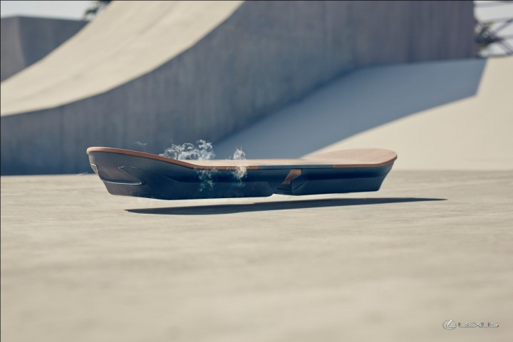 Lexus Hoverboard uses magnetic levitation to float above the ground and provides frictionless movement. Liquid nitrogen cooled superconductors and permanent magnets allowed for Lexus to make this possible. Image courtesy of newsroom.toyota.eu