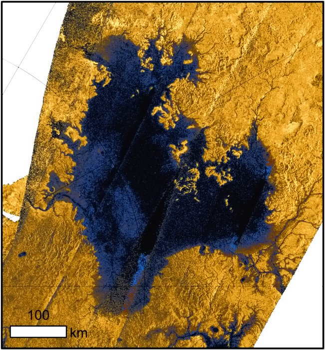 Close-up radar image of Ligeia Mare, the second largest known body of liquid hydrocarbons on Titan. It measures roughly 420 x 350 km and many rivers can be seen draining into the sea. The radar image was created using data collected by the international Cassini spacecraft. Copyright NASA/ESA. Acknowledgement: T. Cornet, ESA