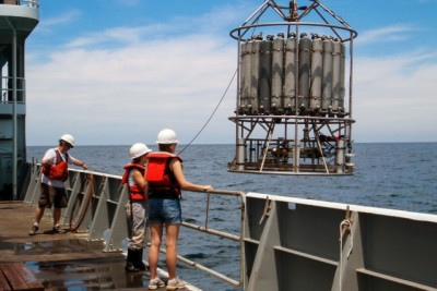 Researchers in the eastern tropical North Pacific used the sampling device shown here to gather water samples from various depths, at three different sampling locations. Photo: Clara Fuchsman