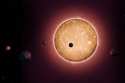 The system Kepler-444 formed when the Milky Way galaxy was a youthful two billion years old. The planets were detected from the dimming that occurs when they transit the disc of their parent star, as shown in this artist's conception. Image courtesy of NASA