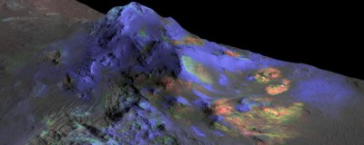 Spectral signals Researchers have found deposits of impact glass preserved in Martian craters like Alga (above) using data from NASA's Compact Reconnaissance Imaging Spectrometer for Mars (CRISM). Green indicates the presence of glass. (Blues are pyroxene; reds are olivine.) Such deposits could be a good place to look for signs of past life. Image: NASA/JPL-Caltech/JHUAPL/University of Arizona