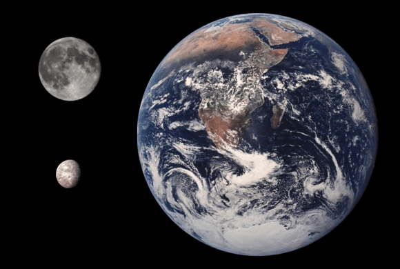 Size comparison between the Earth, the Moon, and Uranus' moon of Oberon. Credit: Tom.Reding/Public Domain