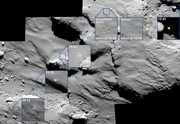 Mosaic photo capturing Philae's flight above the comet's nucleus and one of its three touchdowns on November 12, 2014. The images cover a 30 minute period spanning the first touchdown. The Greenwich Mean Time time of each of image is marked on the corresponding insets. Credit: ESA/Rosetta/MPS for OSIRIS Team MPS/UPD/LAM/IAA/SSO/INTA/UPM/DASP/IDA