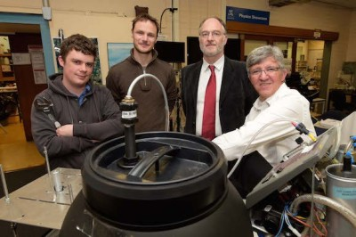 The University of Melbourne team developing the LPOS machines, from left to right, Dr David Peake and Dr Bryn Sobott from the Physics Department, A/Prof Jim Black from Medicine and A/Prof Roger Rassool, project leader.