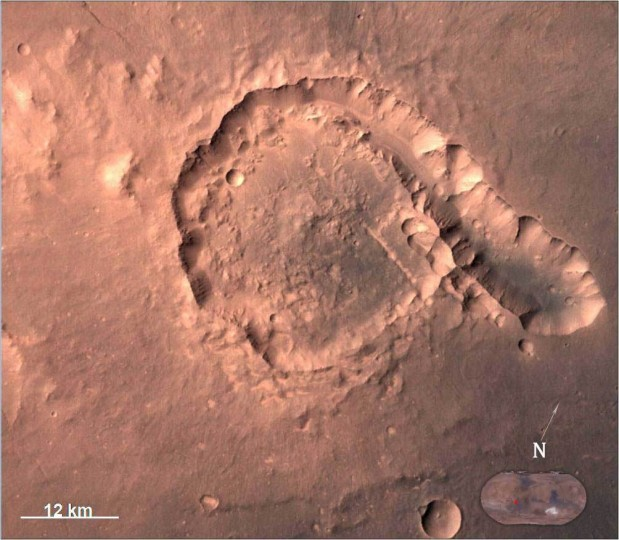 Pital crater is an impact crater located in Ophir Planum region of Mars, which is located in the eastern part of Valles Marineris region. This image is taken by Mars Color Camera (MCC) on 23-04-2015 at a spatial resolution of ~42 m from an altitude of 808 km. Credit: ISRO