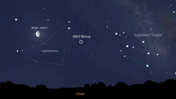 The sky facing southeast around 2 a.m. in early June. Leonard Nimoy's asteroid is currently in Capricornus where it borders with Sagittarius. Source: Stellarium