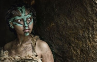 A Tam Pa Ling woman sheltering from a storm 63,000 years ago. Image credit: PBS