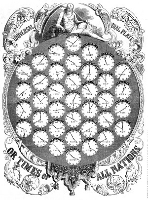 An 1853 Universal Dial Plate depicting time worldwide before the adoption of Universal Time. Image credit: Wikimedia Commons/Public Domain image