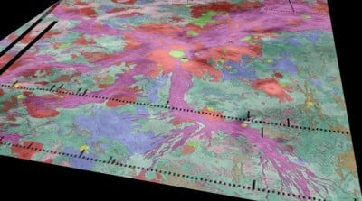 Volcanoes on Venus Radiating our from the Venusian volcano Ozza Mons (red, center) are thousands of miles of rift zones (purple). Data from the Venus Express spacecraft suggests there are active lava flows in hotspots along the rifts. Ivanov/Head/Dickson/Brown University