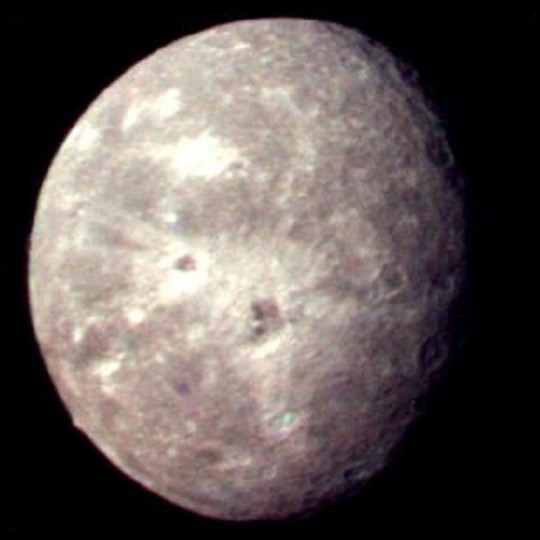 Oberon, as imaged by the Voyager 2 probe during its flyby on Jan. 24, 1986. Credit: NASA