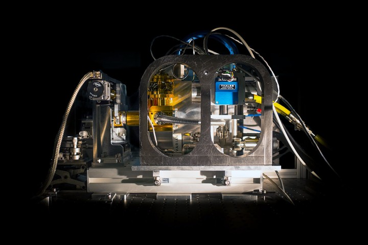 This picture shows the first prototype of RAPID, a new generation of fast and very sensitive detectors that has been successfully installed on the PIONIER instrument at ESO's Paranal Observatory. This achievement is the result of five years of sustained collaboration and effort from academic institutes (LETI, ONERA, IPAG, LAM) and industrial partners (SOFRADIR). As its name suggests, the new RAPID system delivers several thousand images per second and can operate at very low light levels. Credit: ESO