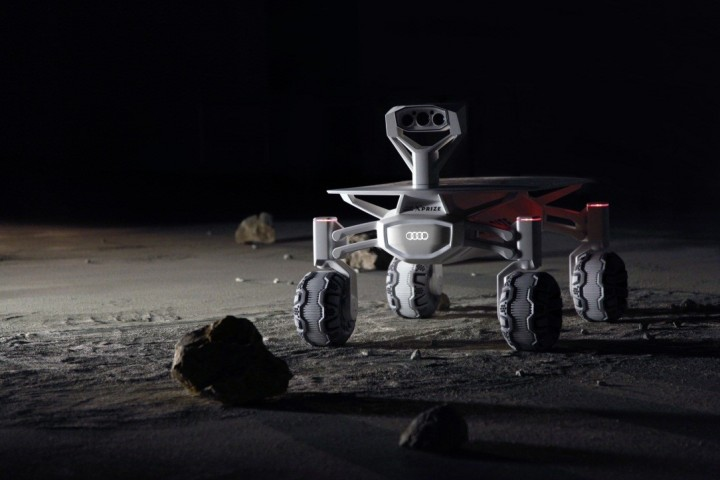 """""""Audi lunar quattro"""" is powered by energy, captured by adjustable solar panel and stored in the lithium‑ion battery. Movement is provided by four electric wheel hub motors, which should give good off-road capabilities. Image courtesy of audi-mediacenter.com."""