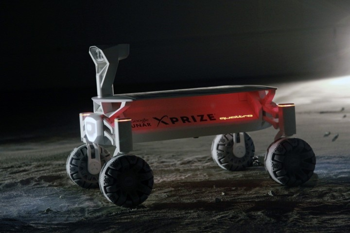 This lunar rover is the only one in the Google Lunar XPRIZE from Germany. It uses Audi's technologies from quattro all-wheel drive and lightweight construction to electric mobility and piloted driving. Image courtesy of audi-mediacenter.com.