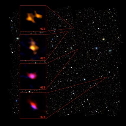 Using ALMA, astronomers surveyed an array of normal galaxies seen when the Universe was only 1 billion years old. They detected the glow of ionized carbon filling the space between the stars, indicating these galaxies were fully formed but chemically immature, when compared to similar galaxies a few billion years later. The ALMA data for four of these galaxies is show in relation to objects in the COSMOS field taken with the Hubble Space Telescope.  ALMA (NRAO/ESO/NAOJ), P. Capak; B. Saxton (NRAO/AUI/NSF), NASA/ESA Hubble