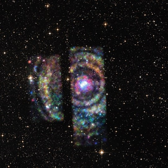 Circinus X-1 consists of a nebula and a neutron star and cannot be observed by optical telescoped because of dust hiding it. However, now scientists are able to estimate the distance to it by looking at the echoes of the X-rays it emitted. Image courtesy of news.wisc.edu.