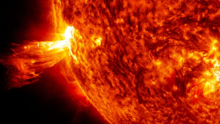 On June 20, 2013, NASA's Solar Dynamics Observatory spacecraft captured this coronal mass ejection (CME). A solar phenomenon that can send billions of tons of particles into space that can reach Earth within three days. Credits: NASA